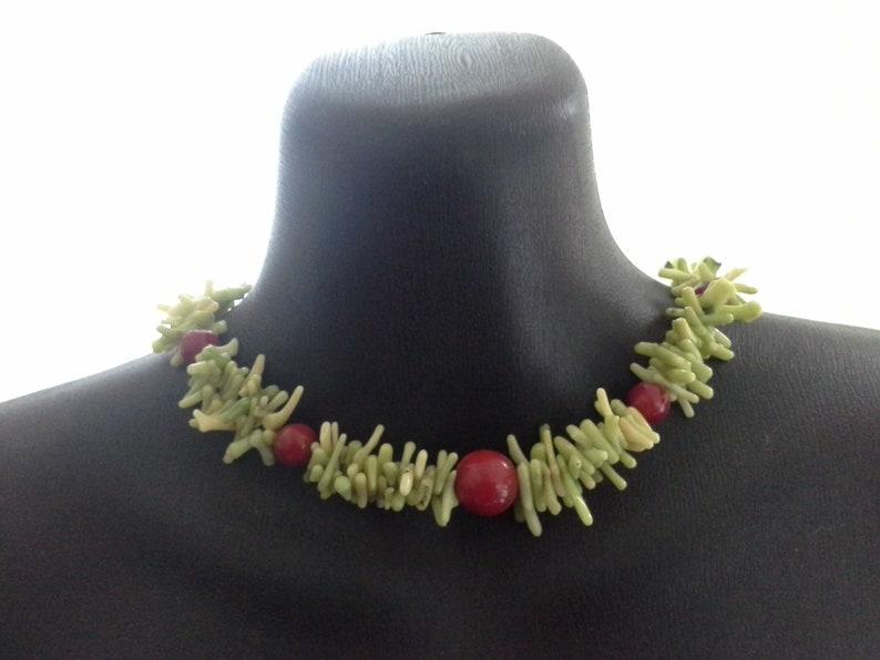 Vintage Artisan Lime Green & Red Natural Coral Choker Collar image 0