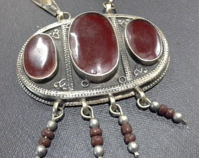 Vintage Antique Ethnic Turkoman Silver Gold Wash & Carnelian  Long Necklace