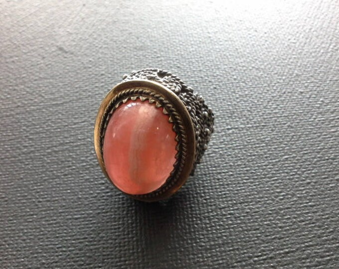 Spanish Large Silver & Gold Ring Set with a Huge Rhodochrosite Cabochon Ornate Dress Ring Hallmarked