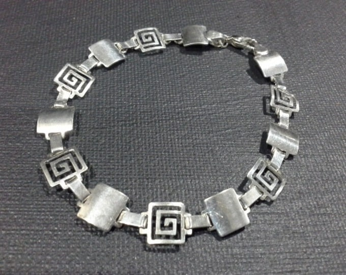 Vintage Mexico Sterling Silver Greek Key Motif Geometric Hinged Bracelet Signed MP-134 MEX 925