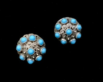 Antique Middle Eastern Turquoise Cluster & Silver Clip On Earrings Vintage Victorian Hallmarked