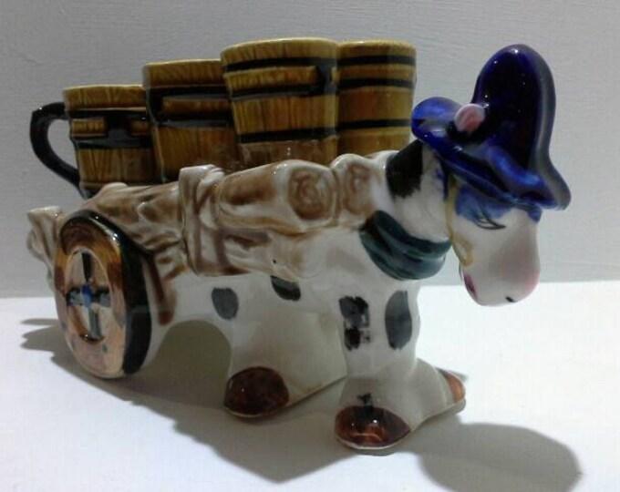 Retro Kitsch Ceramic Donkey Pulling Cart Cruet Condiments  Set Salt Pepper Milk Sugar 1960's Japan