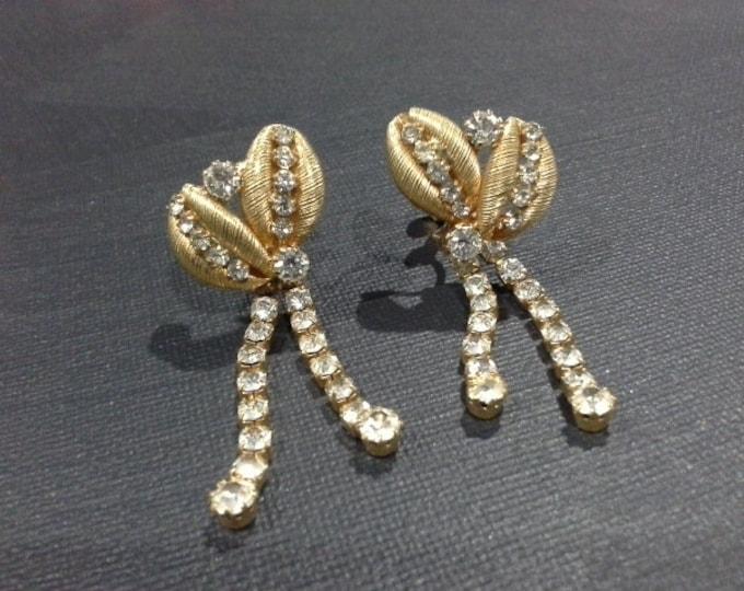 Vintage Gold Tone Dangle Diamante Crystal Ear Clips Clip On Earrings