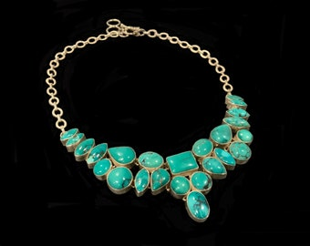 Statement Turquoise Cluster Sterling Silver 925 Toggle Chain Necklace