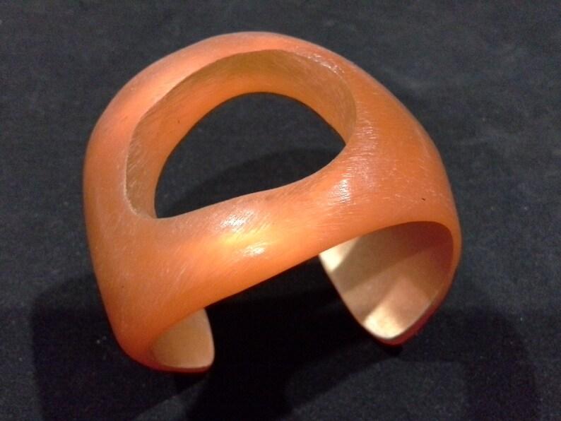 Vintage Orange Modernist Artisan Orb Cuff Bangle Translucent image 0