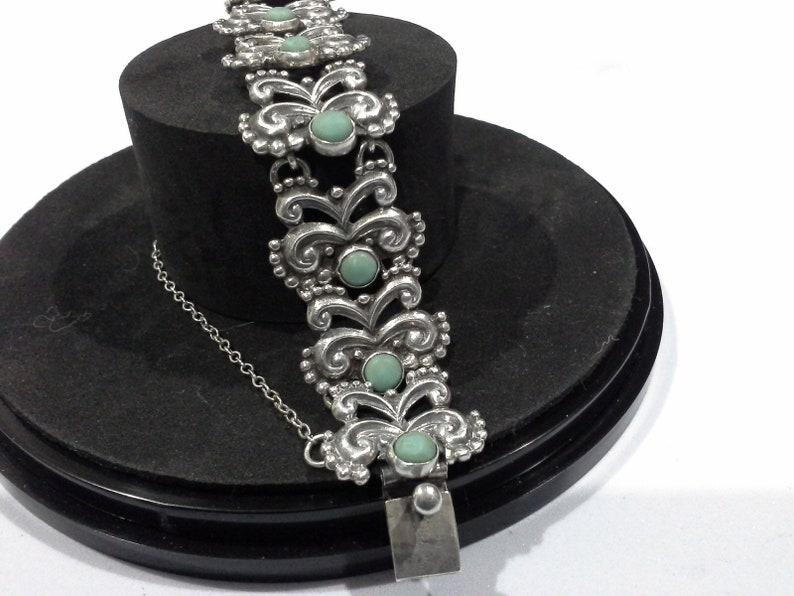 Vintage Margot De Taxco Sterling Silver & Turquoise Bracelet image 0