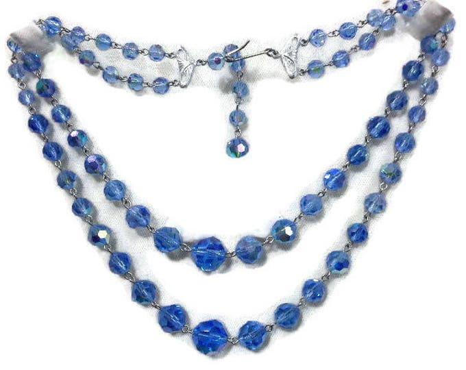 Vintange Blue Aurora Borealis AB Swarovski Crystal Glass Double Strand Necklace Silver Tone Accents