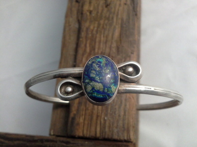 Vintage Azurite & Silver Hand Wrought Navajo Artisan Cuff image 0