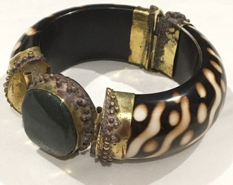 Vintage Brass Tribal Bangle with Green Stone - Tribal Cuff Bangle