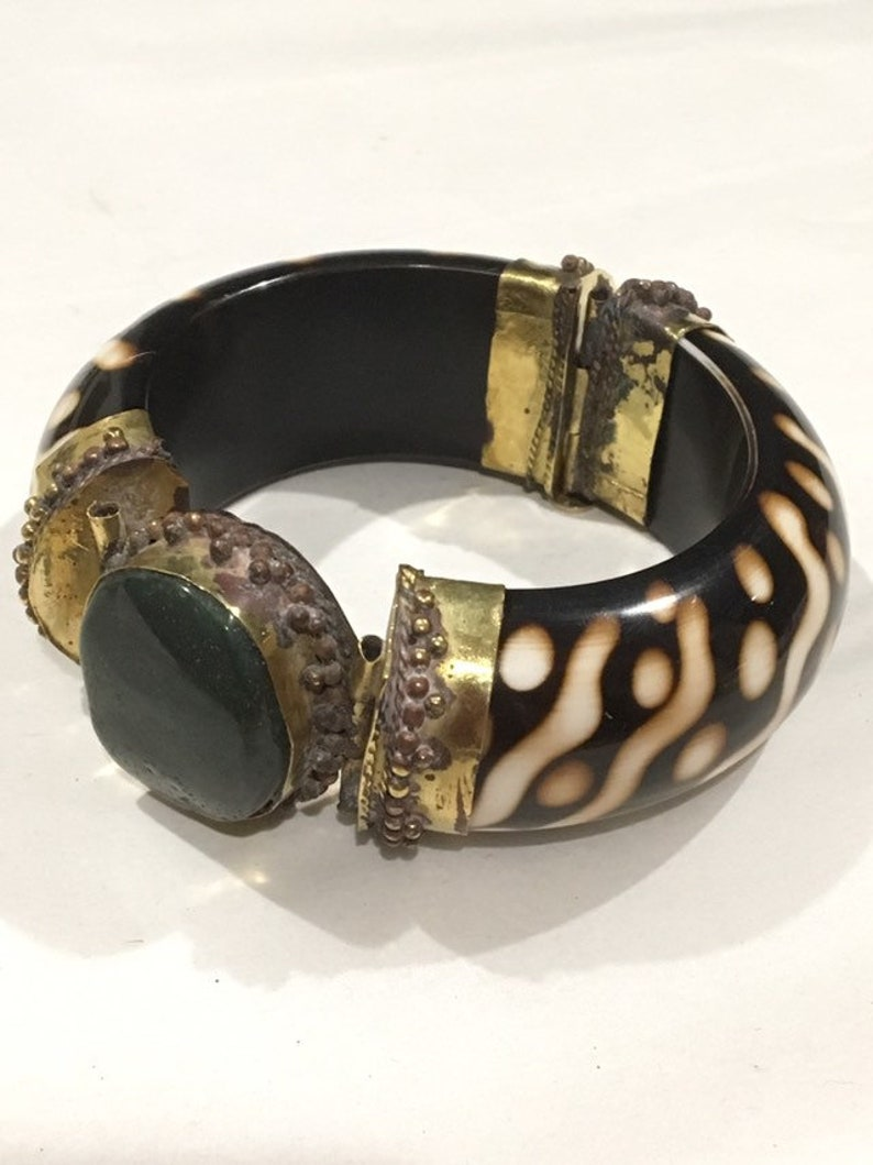 Vintage Brass Tribal Bangle with Green Stone  Tribal Cuff image 0