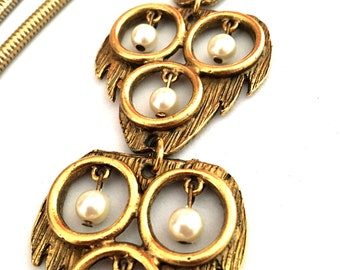 Fabulous Modernist Gold Tone & Pearl Segmented Lariat Pendant, Snake Chain Necklace