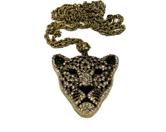 Vintage Large Dimensional Panther Pendant Necklace With Twisted Rope Chain Gold & Black Colour and Sparkly Crystals