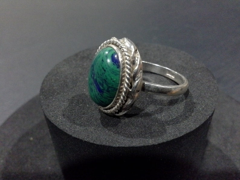 Sterling Silver 925 & Malachite Azurite Southwestern Ring Size image 0