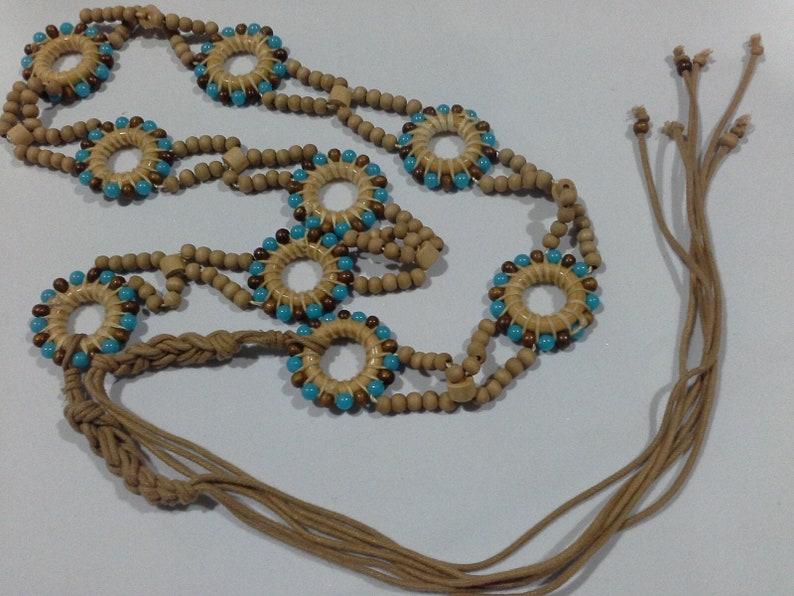 Vintage Natural Wood & Turquoise Resin Beaded Plaited Tassel image 0