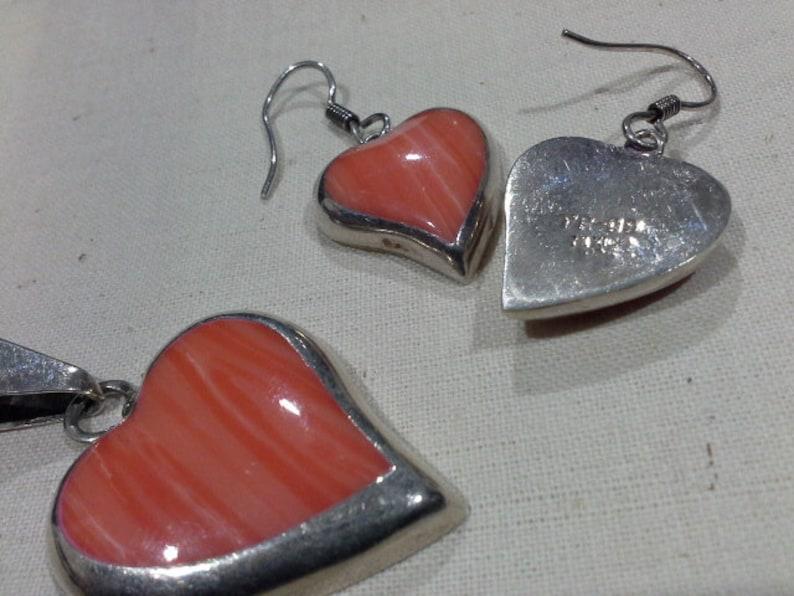 Fidencio Serrano 925 Silver /& Pink Malachite Heart Earrings and Pendant Set Vintage Taxco Mexico