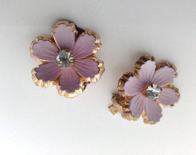 Vintage Pastel Pink Diamante & Gold Tone Flower Clip On Earrings