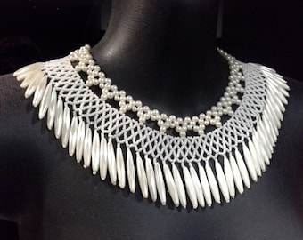 Amazing Vintage Faux Ivory Pearl Beaded Tassled Lacework Collar Necklace Beaded Collar Necklace