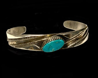 Bruce Morgan Navajo Turquoise & Sterling Silver Modernist Cuff Bracelet 6.75 inch 17cm