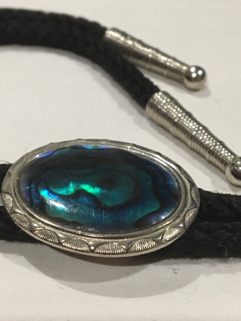 Vintage Bolo Tie Black Chord with Silver & Faux Paua Shell image 0
