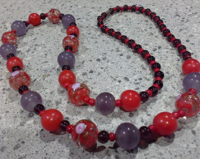 Art Deco Venetian Murano Red Clear Gold Aventurine & Amethyst Glass Wedding Cake Beaded Necklace c 1930's