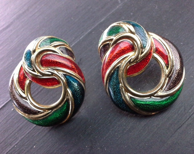Vintage Multi Coloured Enamel On Gold Door Knocker Earrings Red Blue Green Purple Seventies Dangley