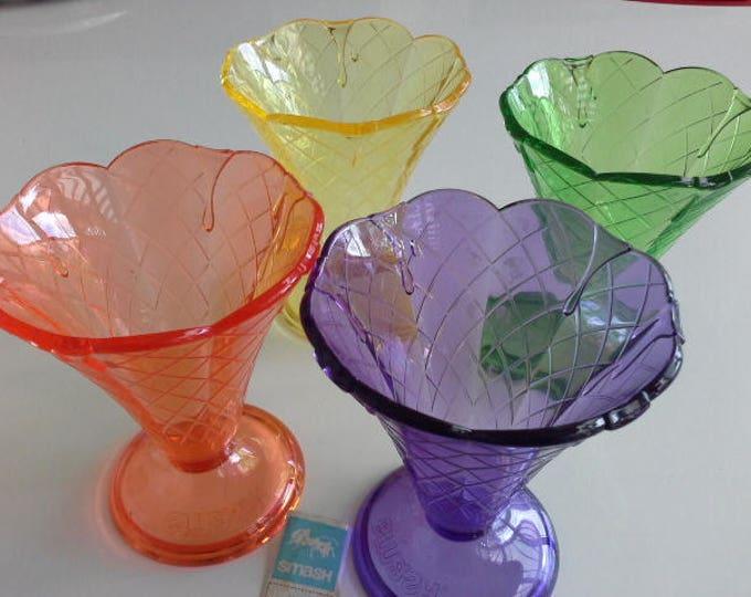 Smash Acrylic Multi Coloured Ice Cream Sundae Glasses Set Of 4 Retro Style Vintage