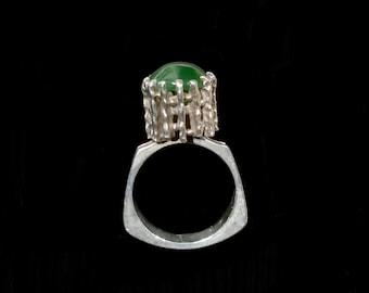 Scandinavian Modernist Brutalist Jade Ring Sterling Silver 925S Size US 7