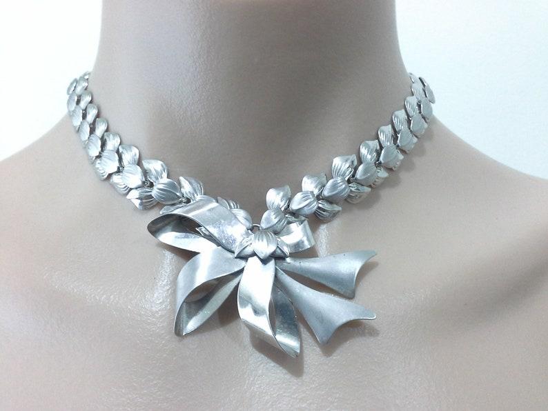 Walter H McKenna Artisan Sterling Silver 925 Laurel Leaf & Bow image 0