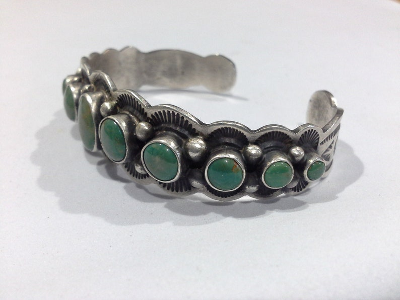 Albert Payton Navajo Green Turquoise & Sterling Silver Cuff image 0