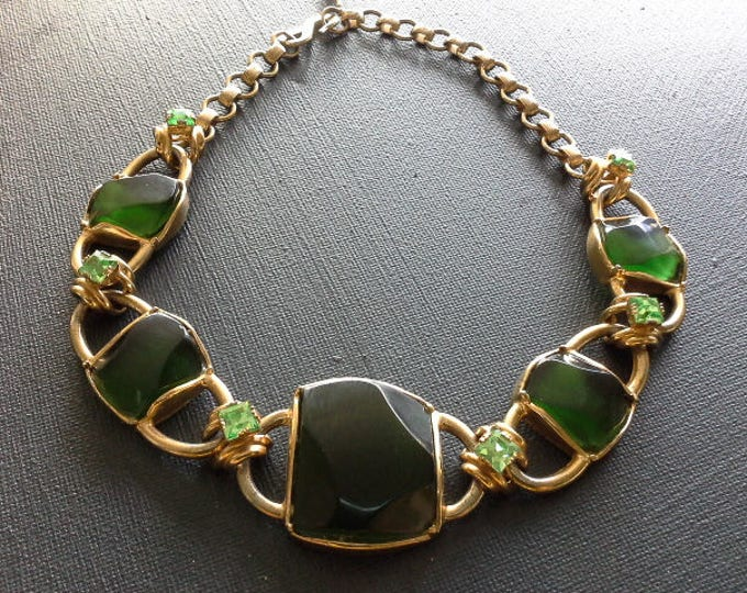 Christian Dior by Henkel & Grosse Green Pate de Verre and Gold Tone Chain Link Necklace c 1960