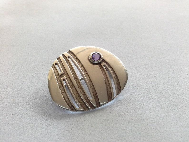 Modernist Sterling Silver 925 & Amethyst Brooch Pin Malcolm image 0