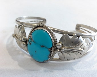 Navajo Lincoln Robert Sterling Silver 925 & Turquoise Squash Blossom Cuff Signed