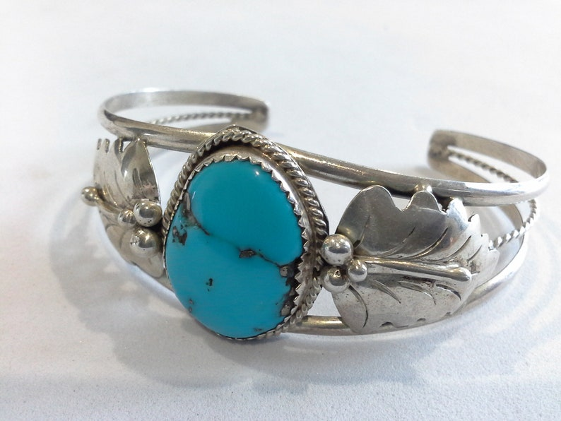 Navajo Lincoln Robert Sterling Silver 925 & Turquoise Squash image 0