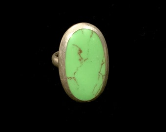 Vintage Large Green Turquoise Cab 925 Sterling Silver Ring Signed WCT & TH Size 6