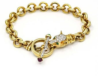 Antique 14K Gold Diamond Panther Belcher Chain Toggle Bracelet Signed, Emerald Ruby Sapphire