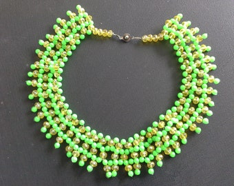 Iridescent Green Resin & Glass Beaded Wide Collar Necklace Glow in the Dark Black Light Hand Made Vintage Festival Necklace