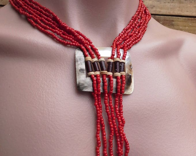 Vintage Handmade Tasseled Red Coral Glass Beaded Necklace with MOP Square Pendant Navajo Tribal Style