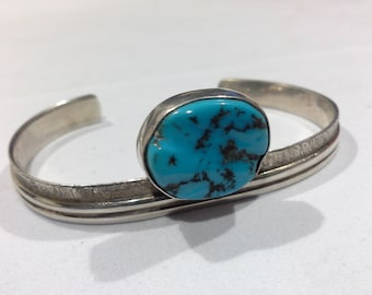 Navajo Sterling Silver & Turquoise Tufa Cast Cuff Bracelet Artist Signed A E Sterling