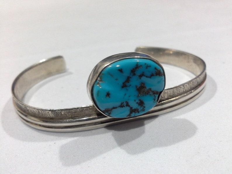 Navajo Sterling Silver & Turquoise Modernist Cuff Bracelet image 0