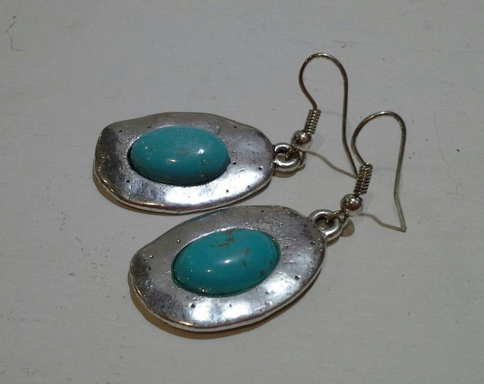 Turquoise & Silver Drop Earrings Imitation Fashion Jewellery Vintage