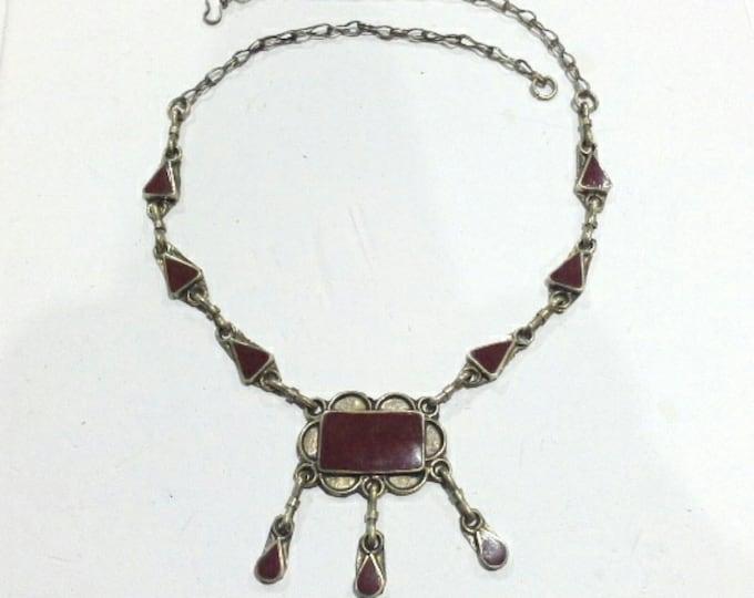 Vintage Boho Ethnic Tribal Silver & Resin Carnelian Necklace