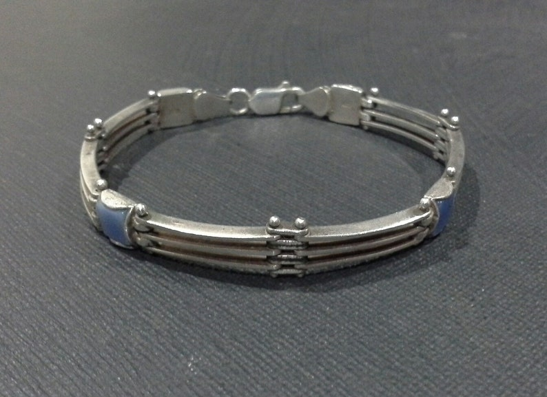 Vintage Sterling Silver 925 Gatelink Bracelet  with Blue image 0