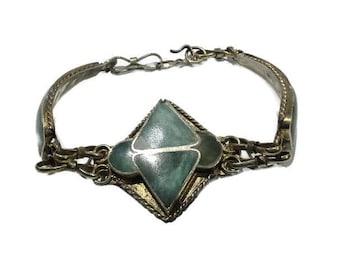 Vintage Hand Made Tibetan Silver & Turquoise Inlay Bracelet