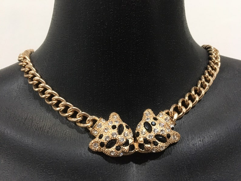 Vintage Avon Double Panther Necklace Gold Tone Crystals image 0