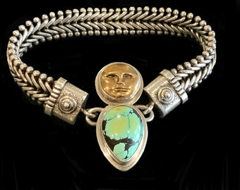 Vintage Signed Tabra Turquoise & Gold Moon Face Sterling Silver 925 Connector Charm complete with Herringbone Woven Bracelet