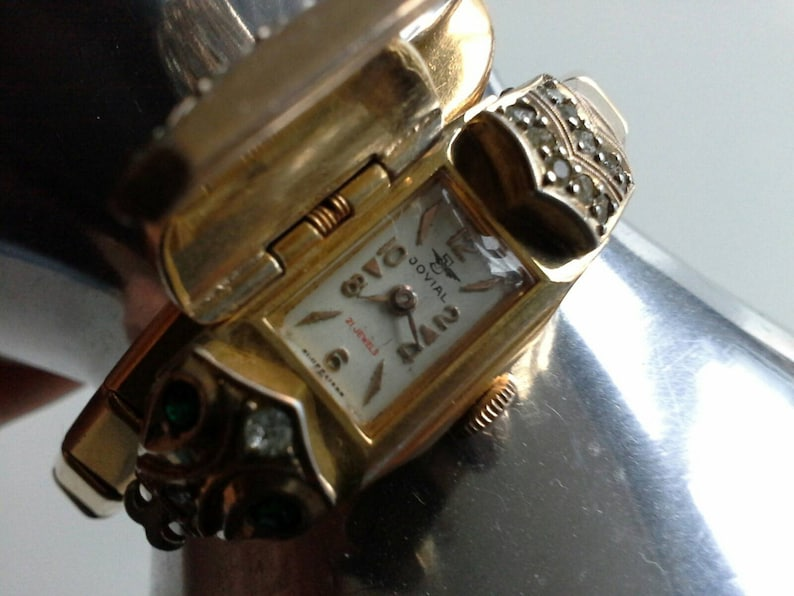 Art Deco 1930's Jovial Serpent Snake Ladies Diamante & Emerald Crystal Gold  Plate Cocktail Watch 21 Jewels Swiss Made