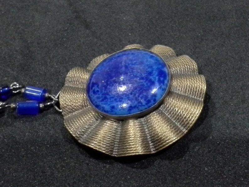 Vintage Lapis Lazuli & Brass Belt Buckle Pendant Necklace image 0