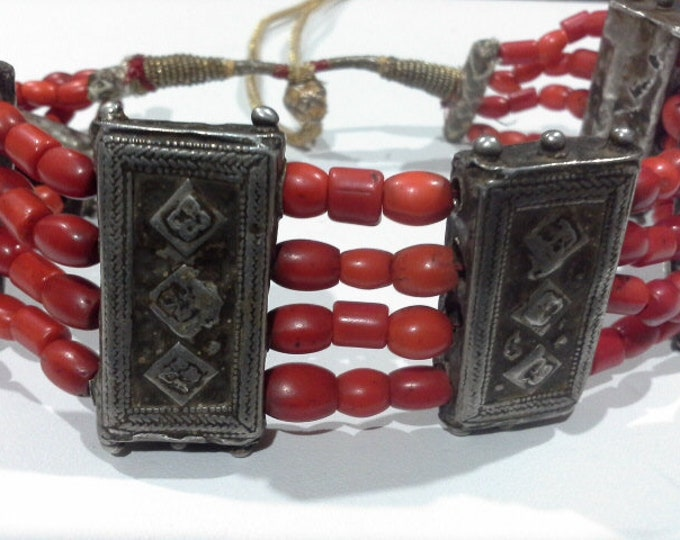Antique Rajasthani Natural Red Coral & Silver Choker Collar Beaded Necklace c 1800's Indian Tibetan Tribal