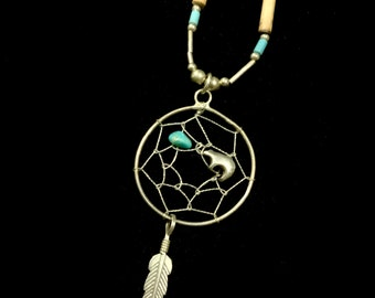 Vintage 925 Sterling Liquid Silver & Turquoise Dream Catcher Spirit Bear Necklace Native American