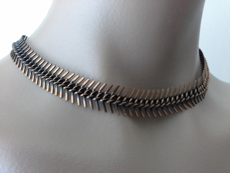 Vintage Copper Herringbone Choker Collar Necklace MCM Mid image 0